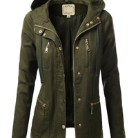 J.TOMSON Womens Trendy Military Cotton Drawstring Jacket