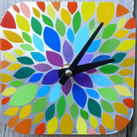 Mini Vinyl Rainbow Burst Clock for Desk or Wall