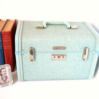 Aqua Blue Samsonite Royal Traveller Train Case