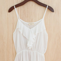 Summer's-a-Coming! Ruffle Tank, Ivory