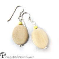Lemon Yellow and Natural Wood Earrings