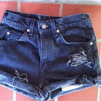Vintage High Waisted Levi Shorts-- Black