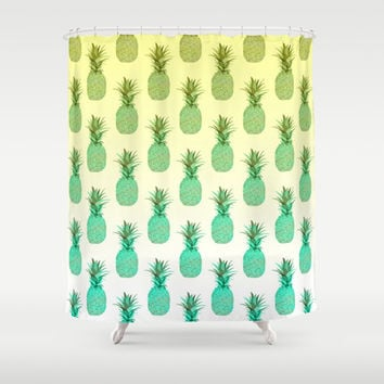 Pineapple Pattern Shower Curtain by Ornaart | Society6