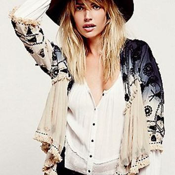 Free People Womens Top Down Embellished Jacket - IVORY COMBO,