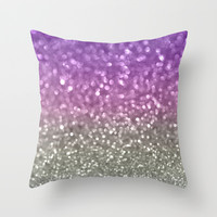 Lilac and Gray Throw Pillow by Lisa Argyropoulos
