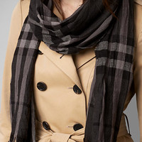 Check Wool Cashmere Crinkled Scarf