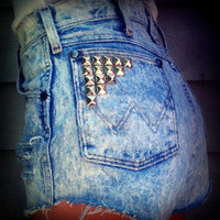 "Vintage High Waisted Studded Acid Wash Wrangler Cut Off Shorts 29"" Waist"