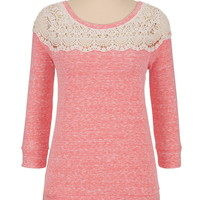 high-low crochet trim pullover