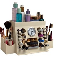 Lips n Eyes Two Piece Makeup Organizer, Ivory, 38.1 Ounce