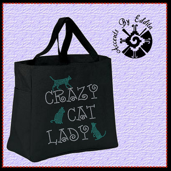 Crazy Cat Lady Rhinestone Tote Bag (your choice of color) with 3 cute Kittens Great for ALL Cat Lovers