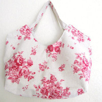Tote Bag- rose on natural beige