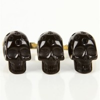 Triple Skull Double Finger Ring