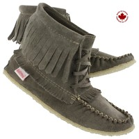 SoftMoc Women's 137376 grey fringe bootie moccasins 137376 GREY L