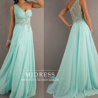 Mint prom dresses wedding dress pageant dress gorgeous beaded graduation gown one shoulder prom dresses bridesmaid dresses bridal dress