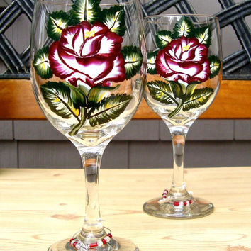 Hand Painted Wine Glasses With A Red Rose and A Charm