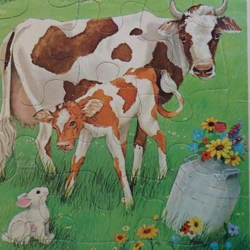 Vintage Cow and Calf Golden Frame Tray Puzzle Western Publishing by VeejaysVintage on Zibbet