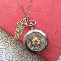 Wing Charm Steampunk Pocket Watch necklace