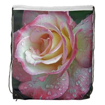 Pink White Rose Drawstring Backpack
