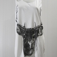 REINDEER Santa Christmas Elk Head Deer Animal Design Sleeveless Animal Tank Top Women Tunic Top White T-Shirt Singlet Deer T-Shirt Size S M