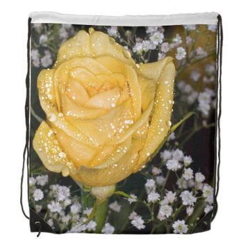 Yellow Rose Drawstring Backpack