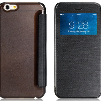 Flip Case with Plastic Back Cover & Screen Display Window for iPhone 6