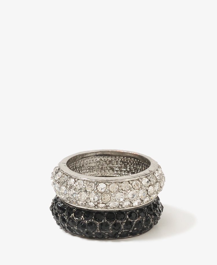 Rhinestoned Stacked Ring Set