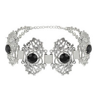 Filigree Black Stone Choker - Black
