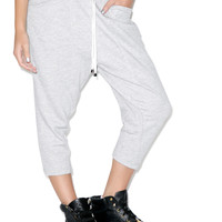Rehab Knit Drop Crotch Ankle Sweatpants Heather Grey