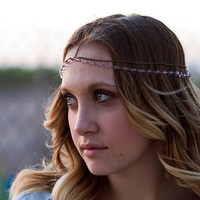 Dark Gold Brass Pink Bead Head Chain, Headdress, Chain Headband, Hair Chain, Hair Jewelry