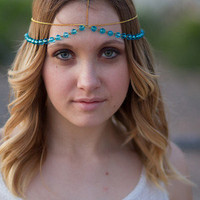 Summer Gold Blue Bead Headdress, Head Chain, Hair Chain, Hair Jewelry, Head Piece