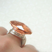 Gold Ring TO ORDER - Size 7.25 - Peach Glass Button Disc - Elegant, Round, Faceted, Big, Copper, Ivory, Rustic, Nice, Bright, Champagne