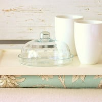 Laptop Lap Desk or Breakfast serving Tray - L size - Off White with Sky Blue Aqua- Custom Order