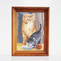 Vintage Kitten Paint by Number - Framed