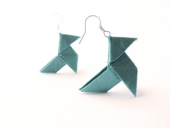 Origami earrings Teal blue silk OOAK by Jye, Hand-made in France