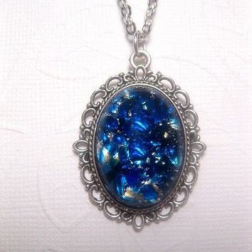 Fancy Frame Galaxy Blue Japanese Water Opal Pendant Necklace