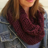 Crochet infinity scarf lightweight burgundy eternity