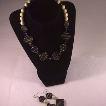 Black and Cream Triangle Bead Necklace and Earring
