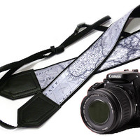 World Map Camera Strap. DSLR Camera Strap. Camera accessories. Canon camera strap.