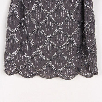 Glam Scalloped Sequin Skirt - Chic Grey