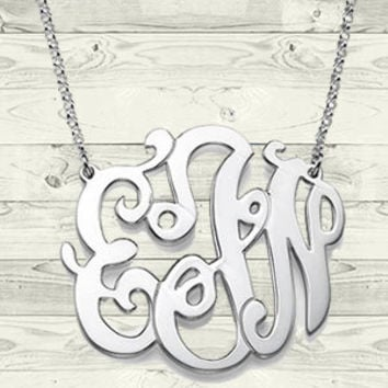 Swirly Monogrammed Pendant in Sterling Silver