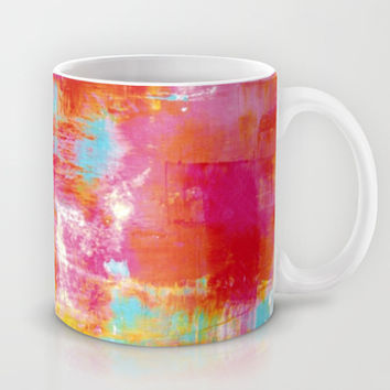 OFF THE GRID 2 Colorful Pink Pastel Neon Abstract Watercolor Acrylic Textural Art Painting Rainbow Mug by EbiEmporium