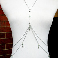 Seafoam Pearls & Bells -  Silver Festival / Belly Dance Body Chain - MANY COLORS AVAILABLE!
