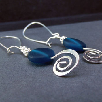 Teal Frosted Glass Earrings:  Peacock Blue Drop and Hammered Silver Swirl Spiral Autumn Beach Wedding  Jewelry