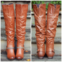 Equestrian Warrior Cognac Over Knee Riding Boots