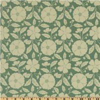 Prospect Park Buttercups Cream/Mint - Discount Designer Fabric - Fabric.com