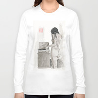 Listening to Records Long Sleeve T-shirt by Bryan James