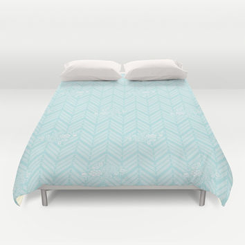 Turquoise Aqua Chevron Floral Duvet Cover by BeautifulHomes