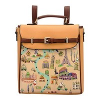 Fashion Hand Painted Floral Print Backpack Travel Bag