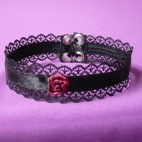 Gothic Choker with Black Lace, Textile Necklace Victorian Vampire Style, Gothic lolita, Black Burgundy, Elegant Ladie's Choker with Rose