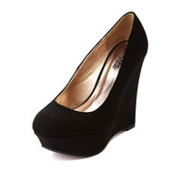 Classic Platform Wedge Pumps by Charlotte Russe - Black